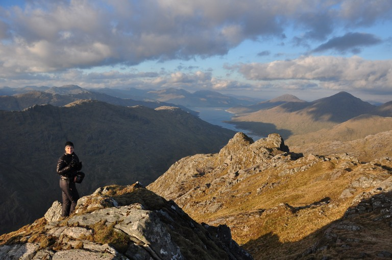 30 May H and Loch Quoich from Ben Aden summit sunset