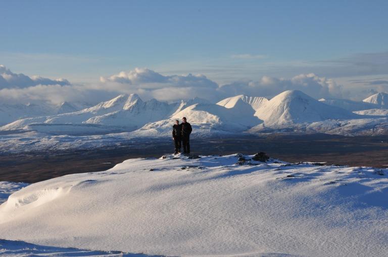 05 Dec K + H Snowy Cuillins from Beinn na Seamraig d