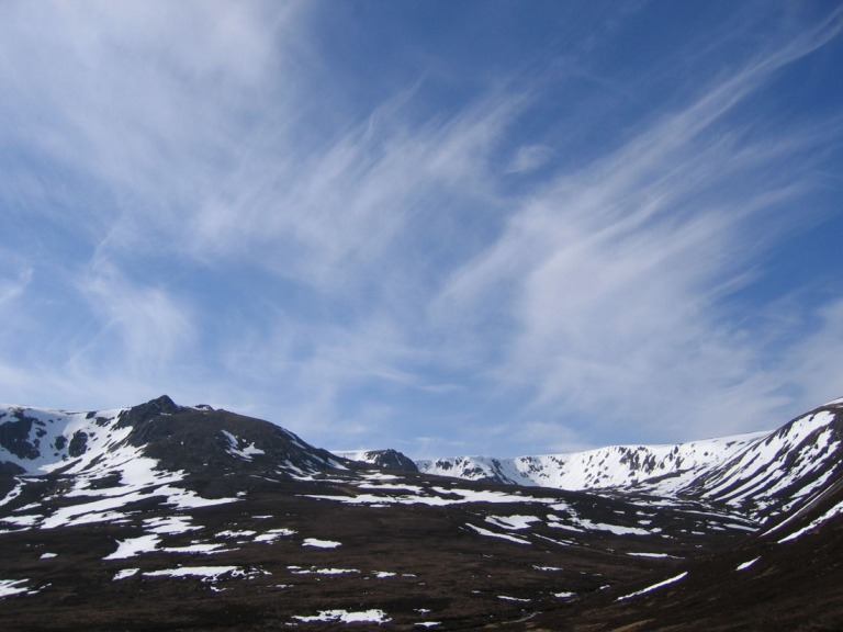 29 April Beinn a Bhuird tops with wisp clouds d